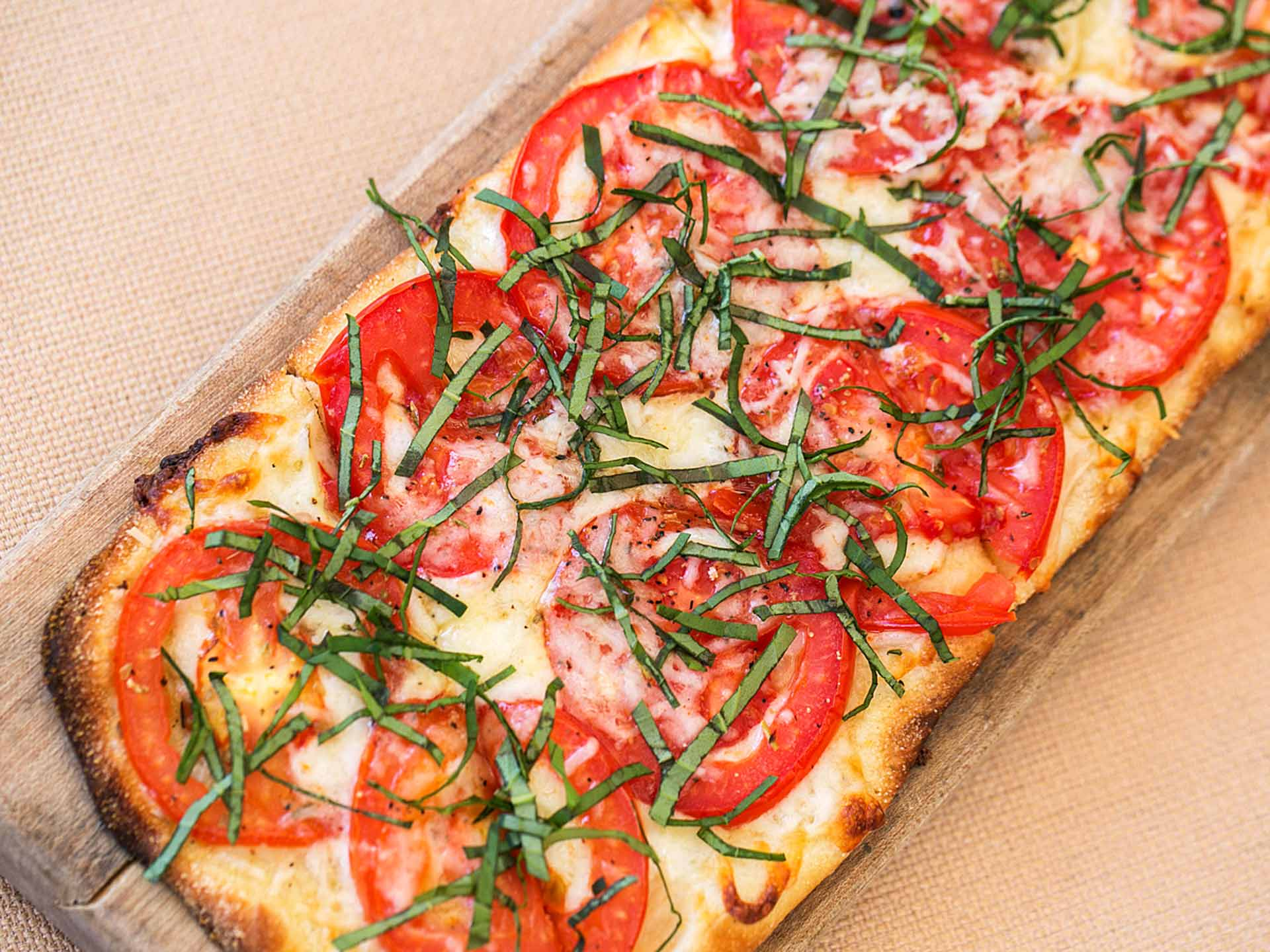 Fresh Basil, Tomato and Cheese Flatbread